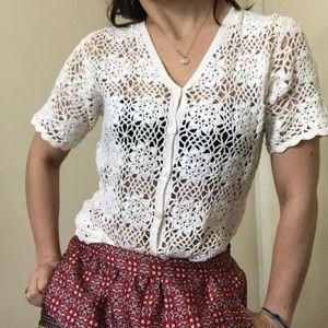 vintage white crochet top